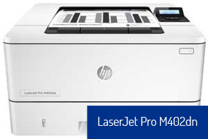 HP LaserJet Pro M402dn printer.